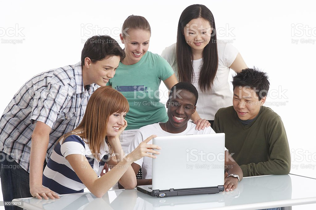 meeting of young group international people royalty-free stock photo