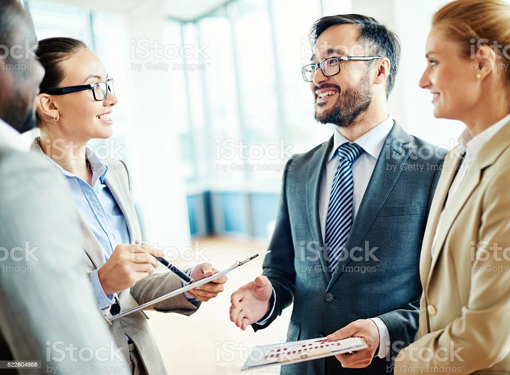 Meeting partners stock photo