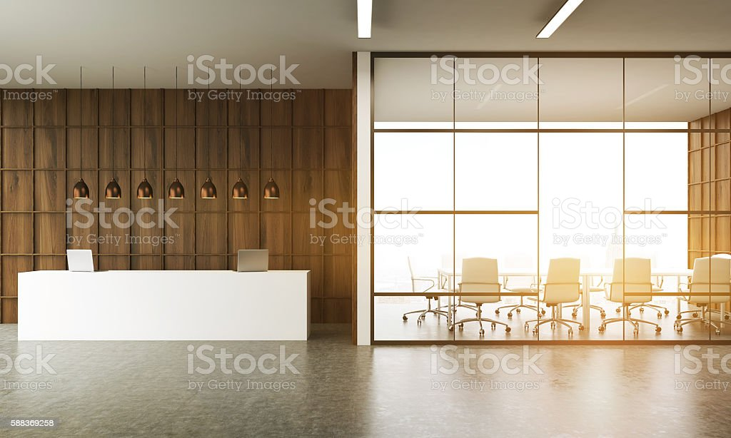 Meeting room and reception desk stock photo
