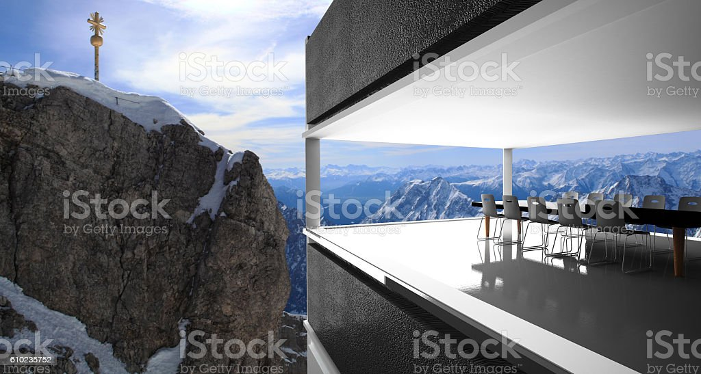 meeting room and Winter snow covered mountain stock photo