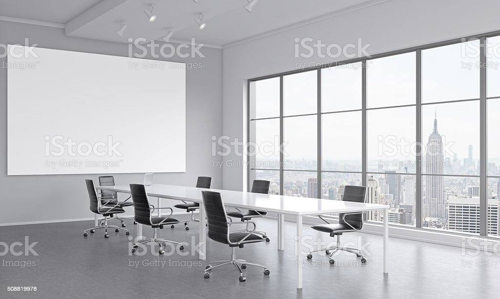 Meeting room for seven people stock photo