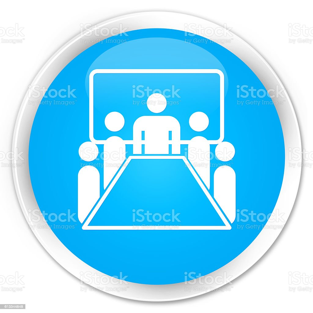 Meeting room icon cyan blue glossy round button stock photo
