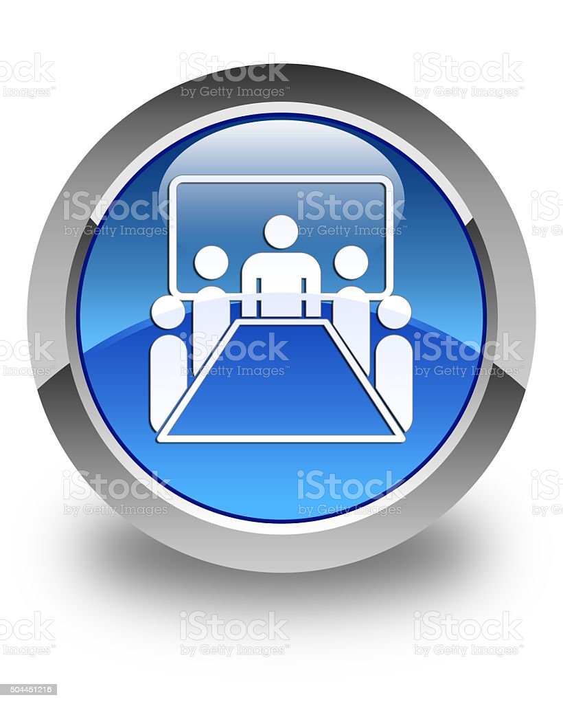 Meeting room icon glossy blue round button stock photo
