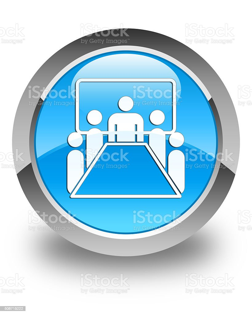 Meeting room icon glossy cyan blue round button stock photo