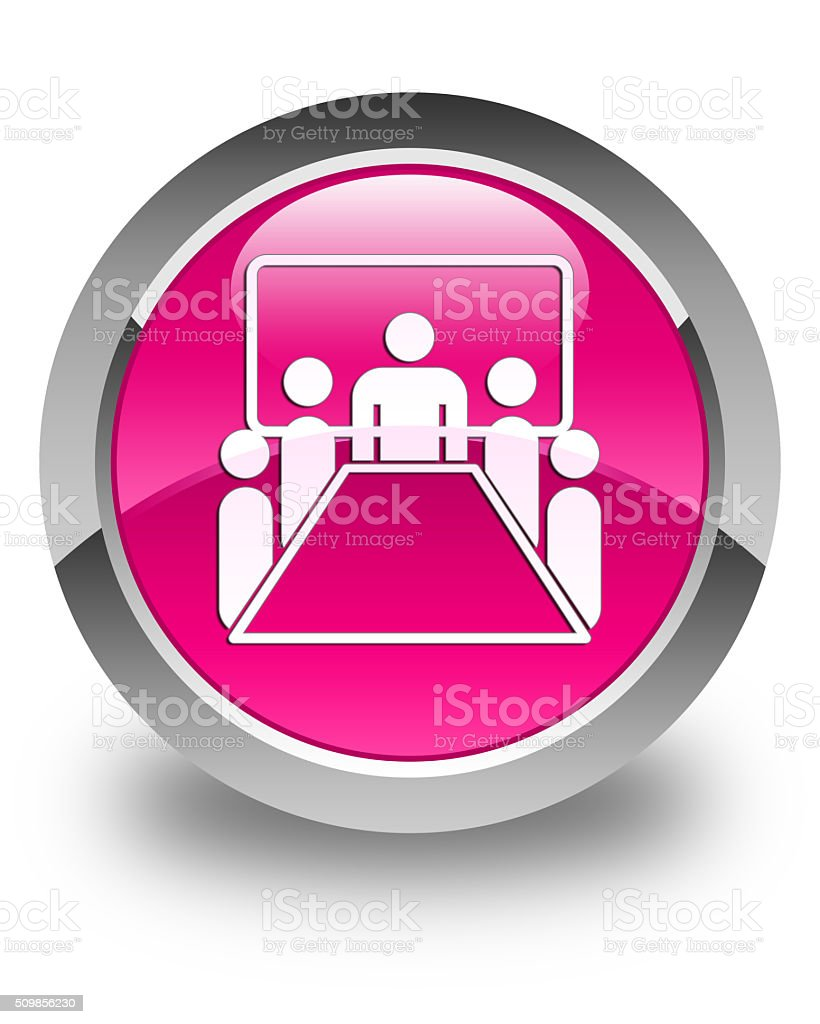 Meeting room icon glossy pink round button stock photo