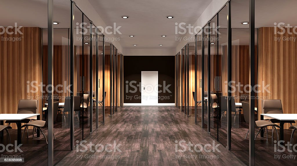 Meeting room. Interior of the modern office in the highlands. stock photo