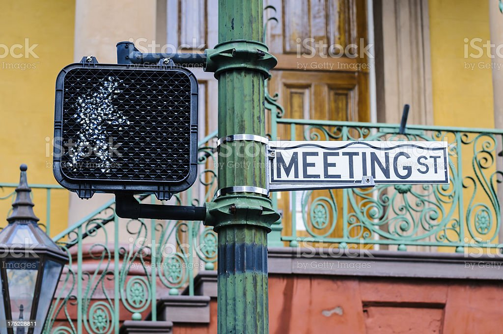 Meeting Street sign in Charleston, South Carolina royalty-free stock photo