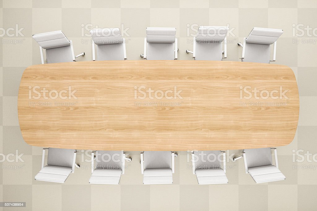 Meeting Table From Top View In Modern Office stock photo