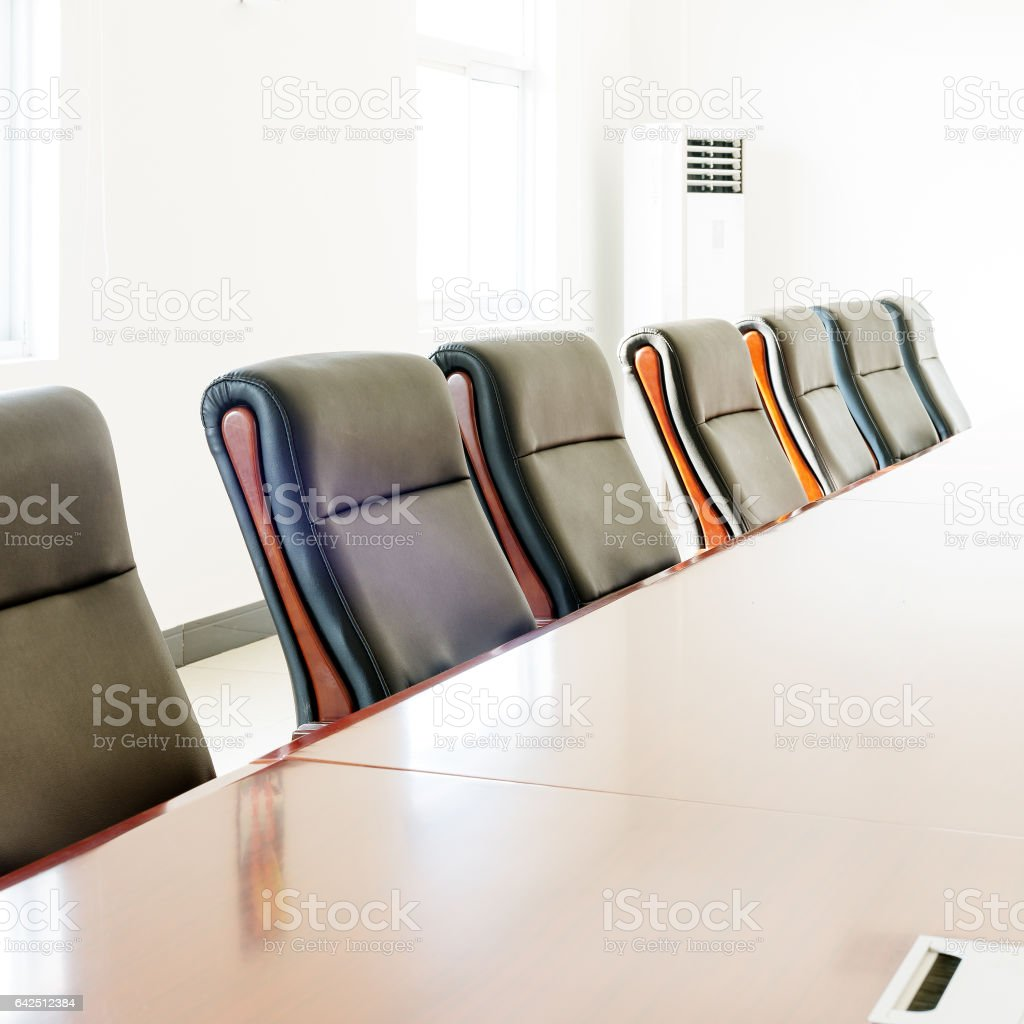 Meeting tables and chairs stock photo