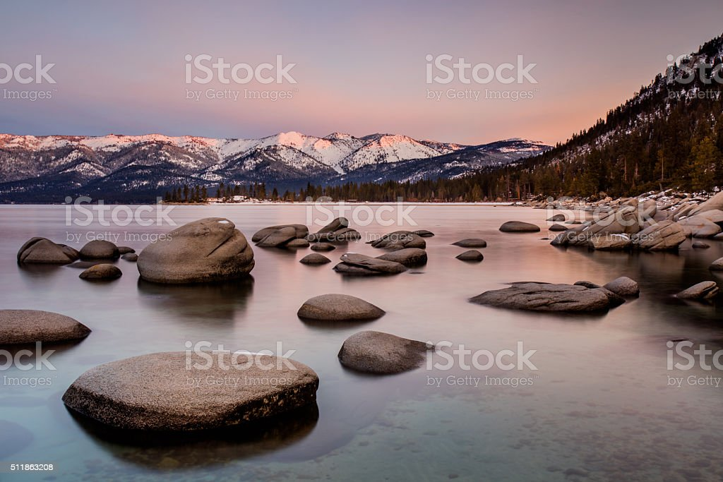 Meeting the sunrise at Lake Tahoe stock photo