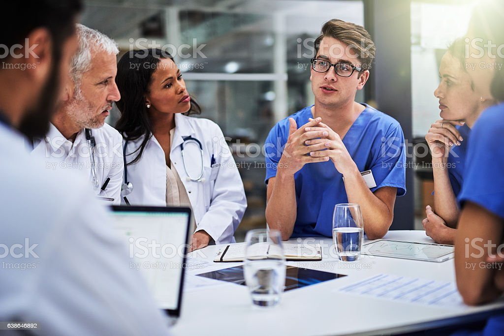 Meeting to make the right diagnosis and course of treatment stock photo