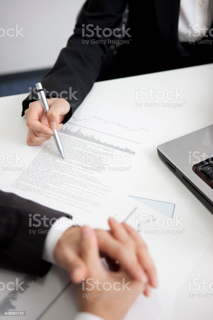 OL meeting with businessmen stock photo