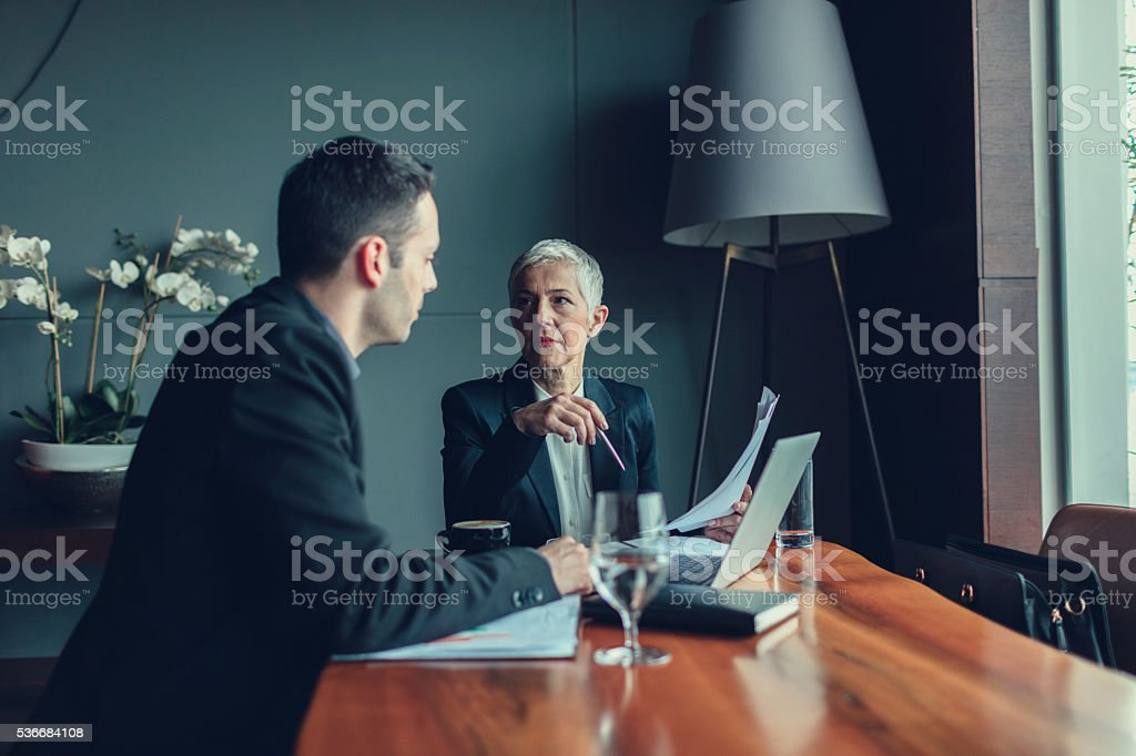 Meeting with CEO. stock photo