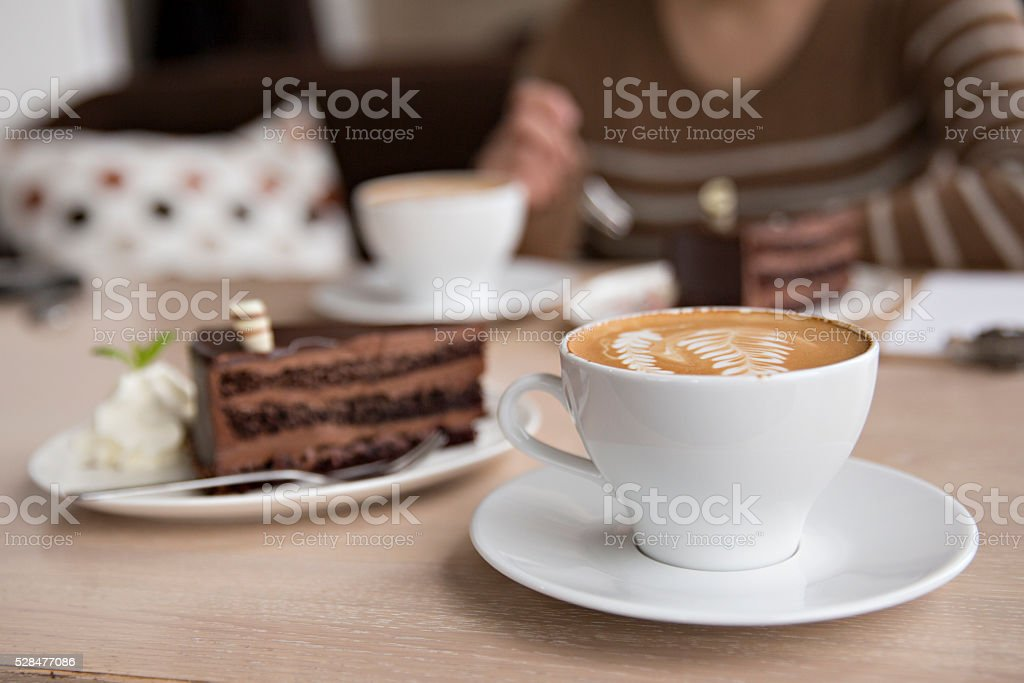 meeting with coffee and cake stock photo