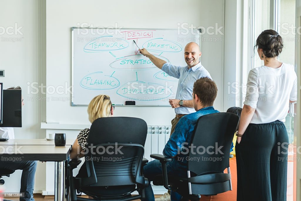 Meeting with colleagues stock photo