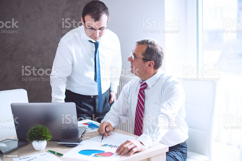 Meeting with experienced manager stock photo