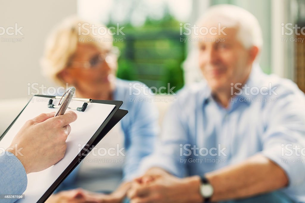 Meeting with financial advisor stock photo