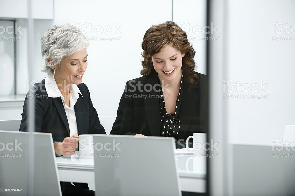 Meeting with mature business woman stock photo