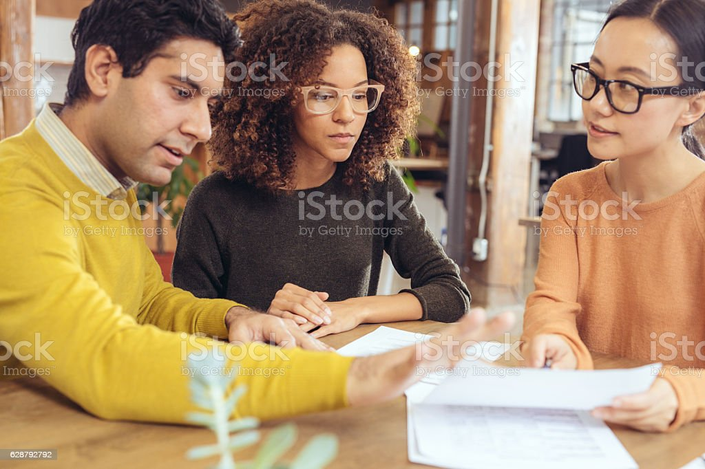 Meeting with realtor stock photo