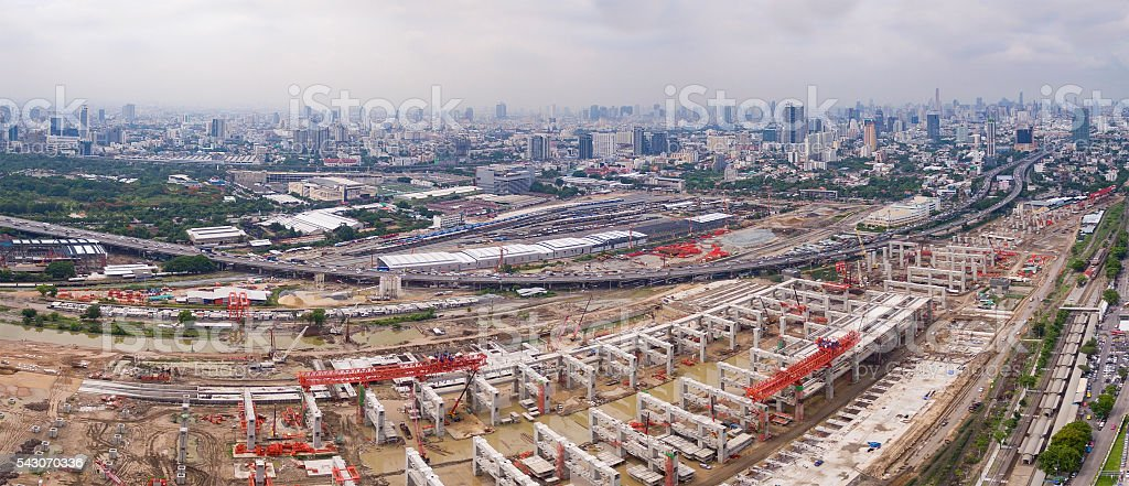 mega project of sky trains bangkok thailand stock photo