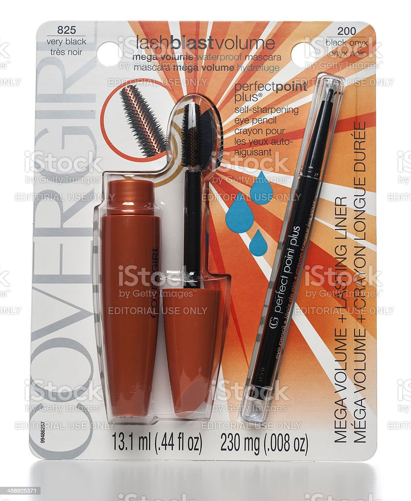 COVERGIRL mega volume mascara and lasting liner package stock photo