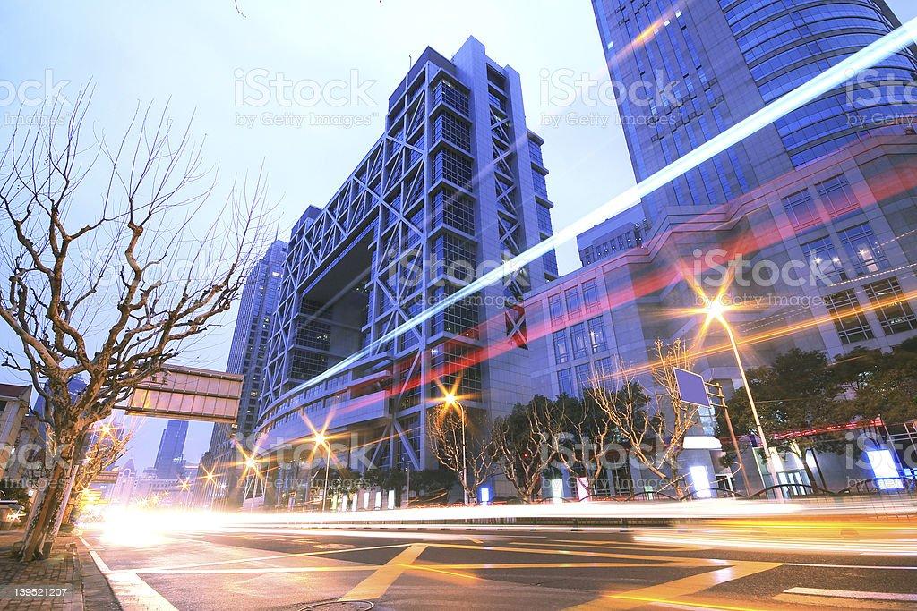 Megacity Highway at night dusk light trails in shanghai royalty-free stock photo