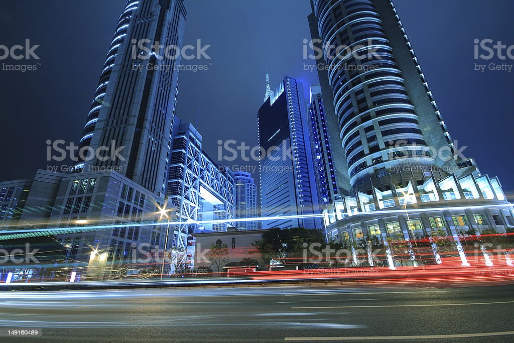 Megacity Highway at night with light trails in shanghai royalty-free stock photo