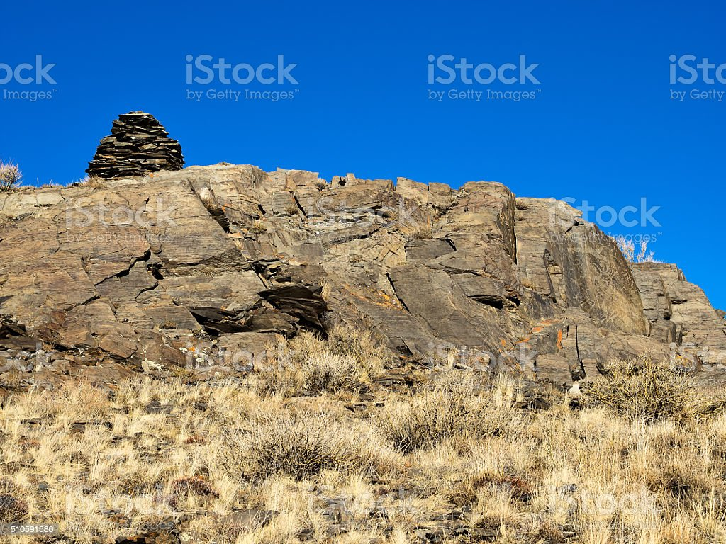 Megalithic complex with main stome and sacred piramid. stock photo
