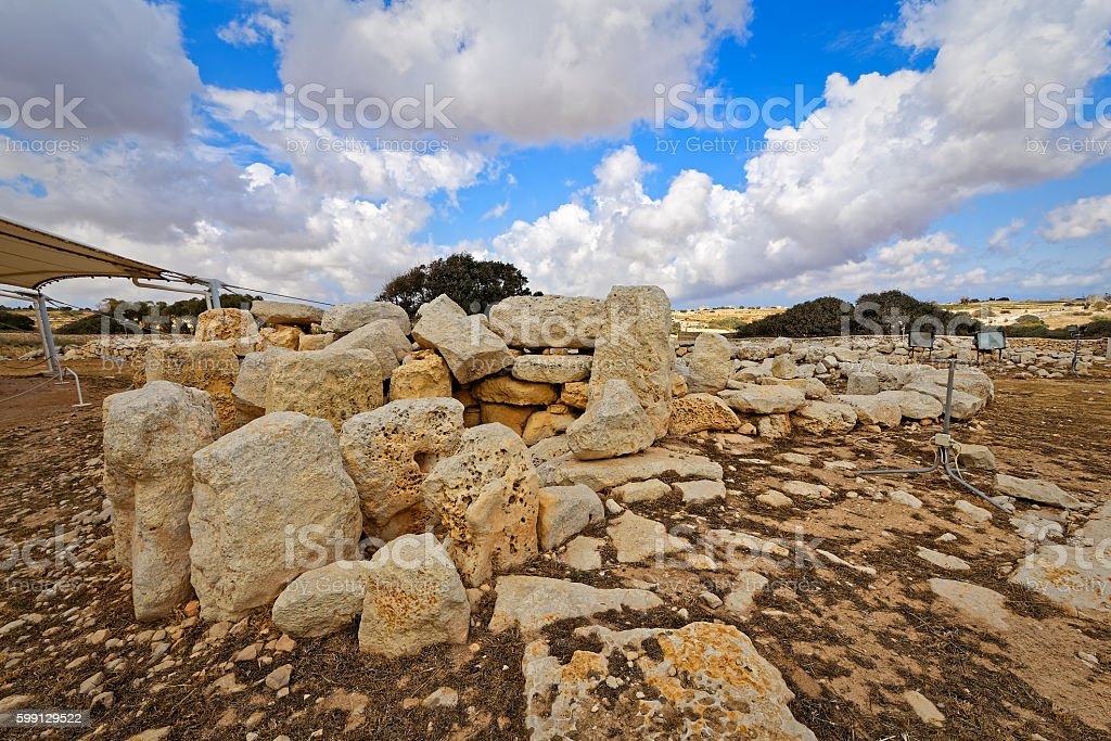 Megalithic Temples of Malta (super wide angle) stock photo