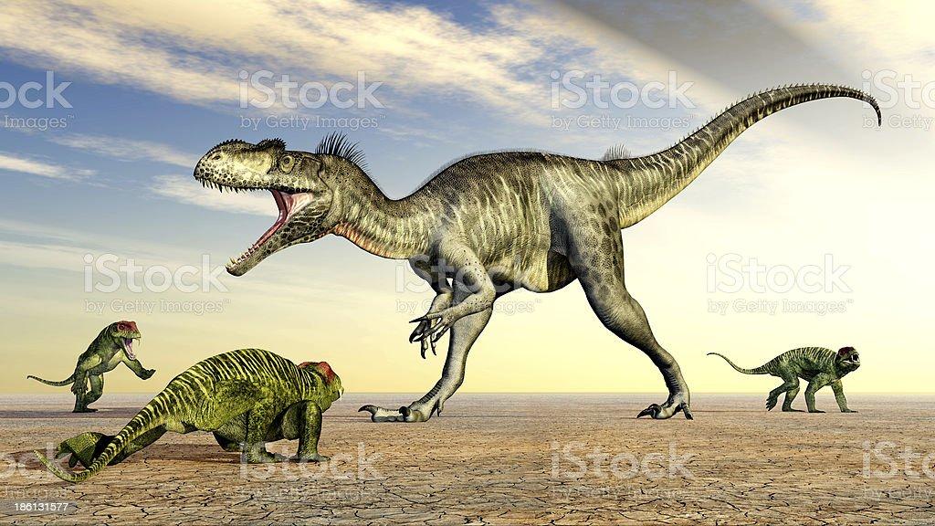 Megalosaurus and Doliosauriscus stock photo