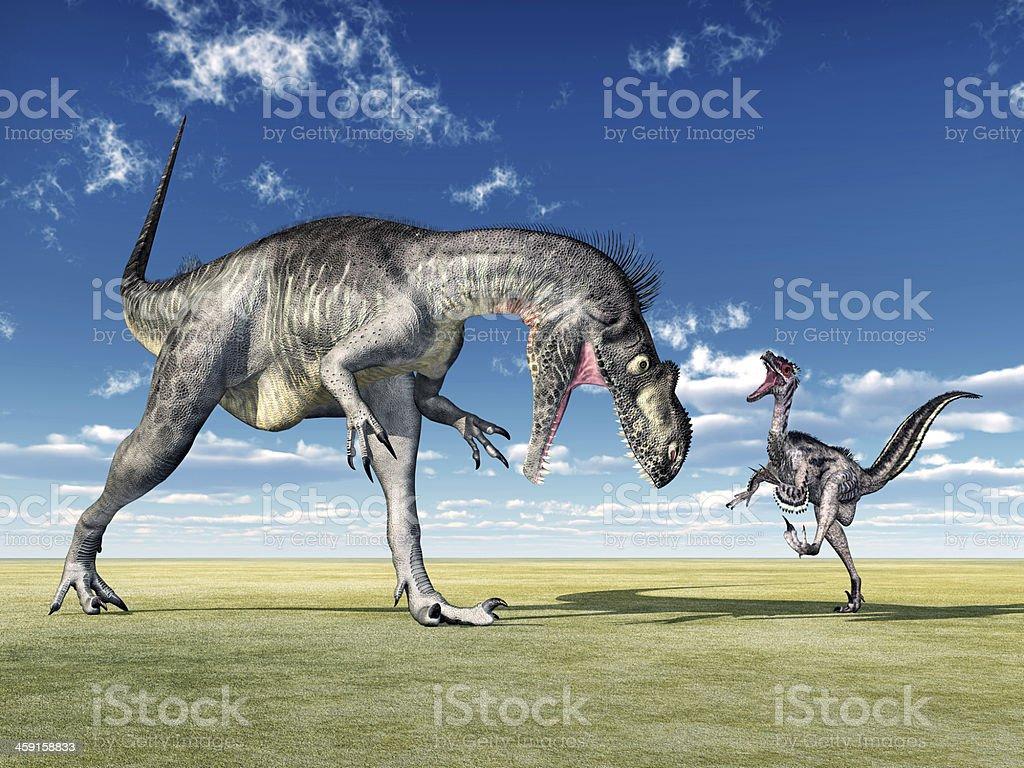 Megalosaurus and Velociraptor stock photo