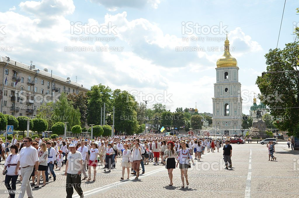 Megamarch of embroideries in the Ukrainian capital Kyiv stock photo