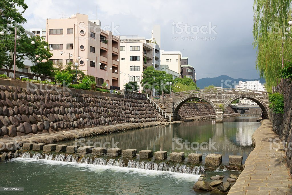 Megane Bridge on Nakashima River in Nagasaki, Japan stock photo