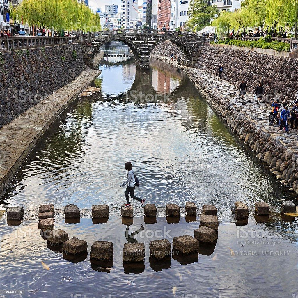 Meganebashi or Spectacles Bridge in Nagasaki stock photo