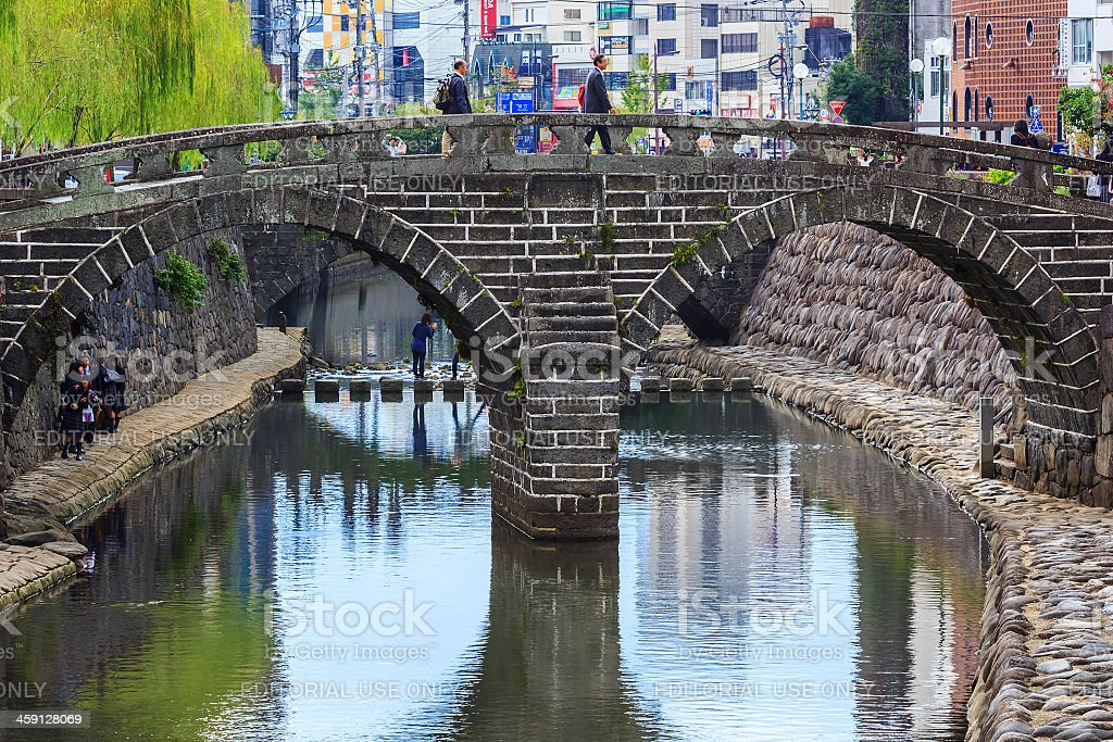 Meganebashi or Spectacles Bridge in Nagasaki stock photo