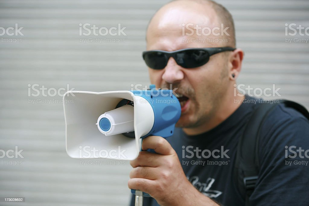megaphone and activist royalty-free stock photo