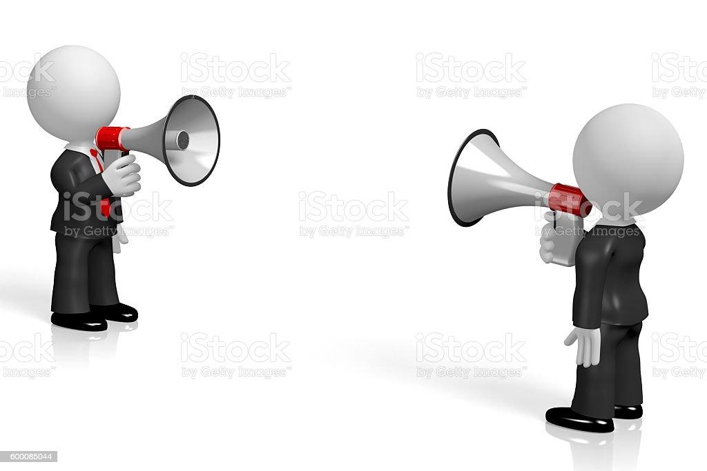 3D megaphone/ conversation concept stock photo