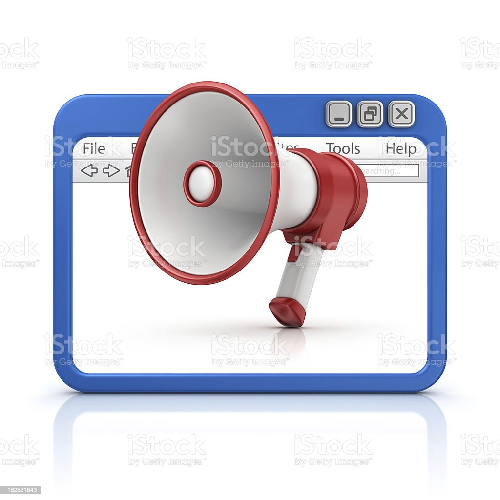 megaphone in browser royalty-free stock photo