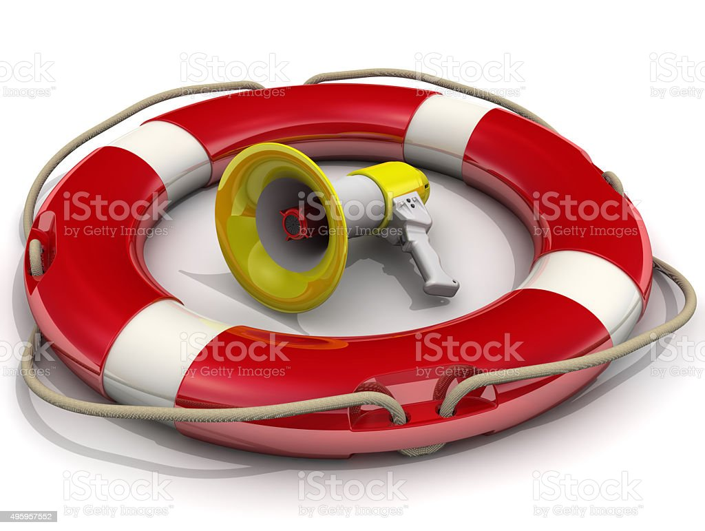 Megaphone is in lifebuoy stock photo