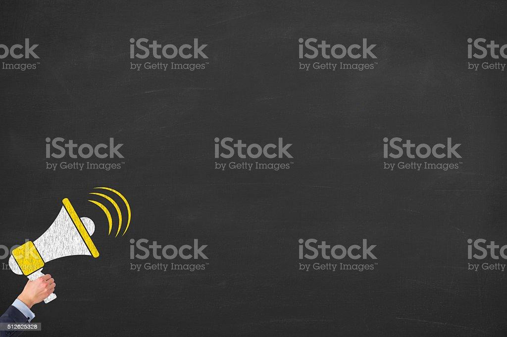 Megaphone on Chalkboard stock photo