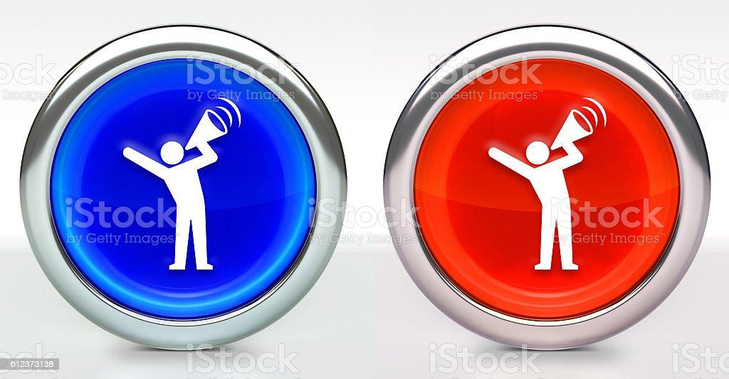 Megaphone Protest Icon on Button with Metallic Rim stock photo
