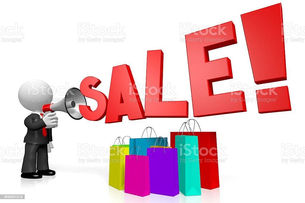 3D megaphone/ sale concept stock photo
