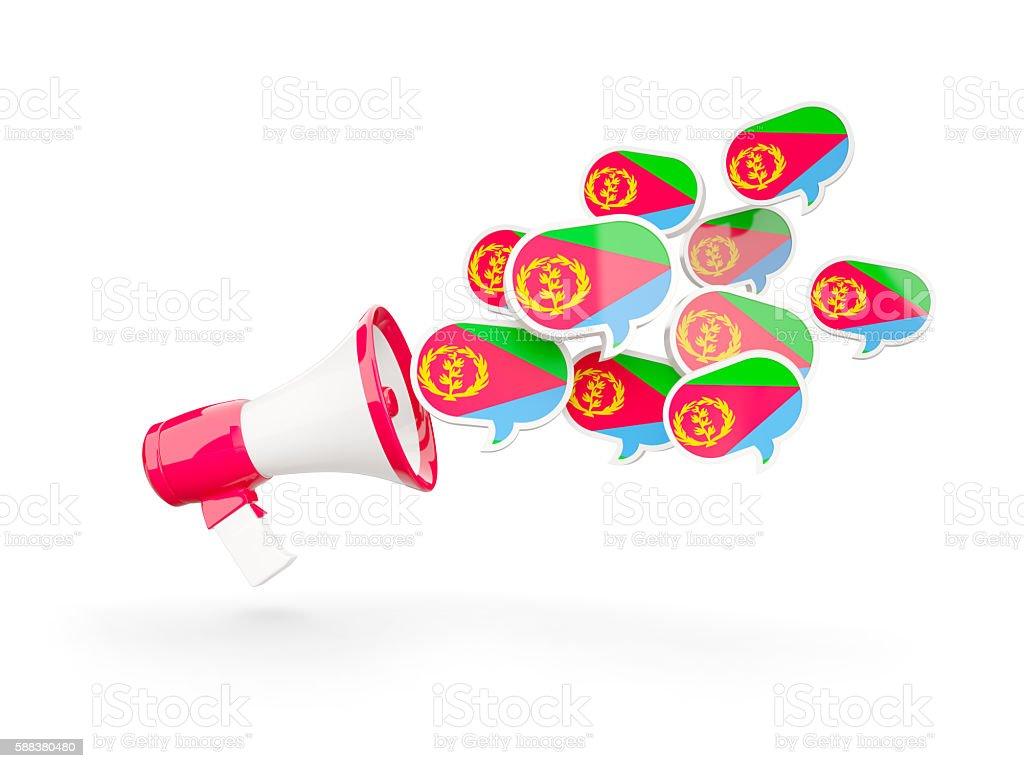 Megaphone with flag of eritrea stock photo