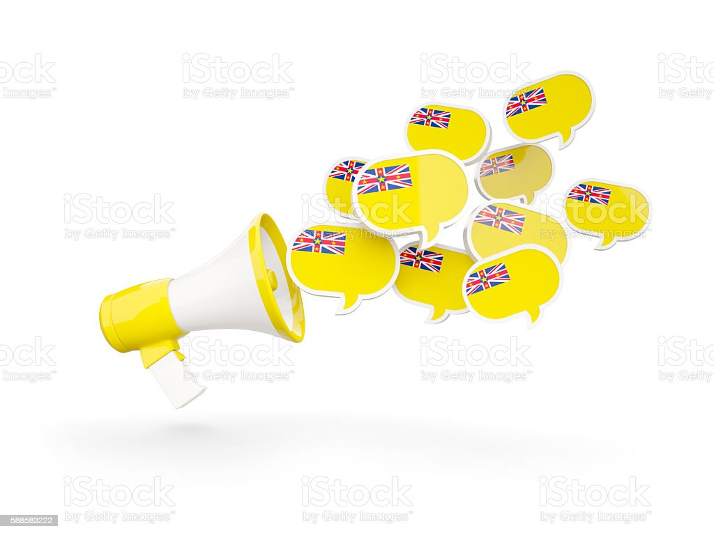 Megaphone with flag of niue stock photo