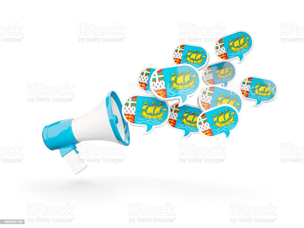 Megaphone with flag of saint pierre and miquelon stock photo
