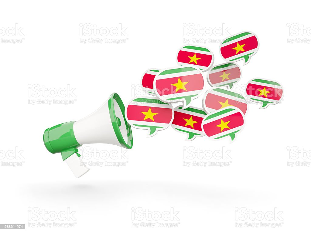 Megaphone with flag of suriname stock photo