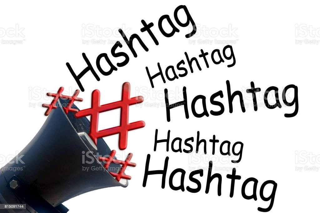 Megaphone with # Hashtag stock photo