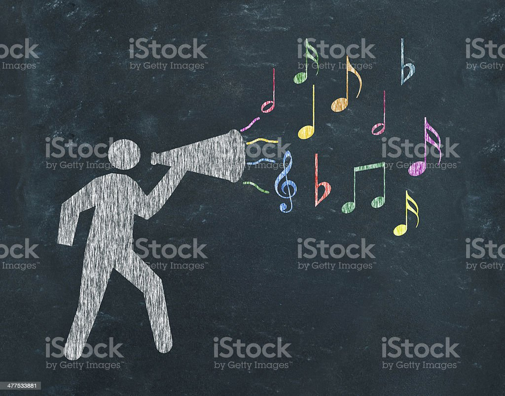 Megaphone with musical notes royalty-free stock photo