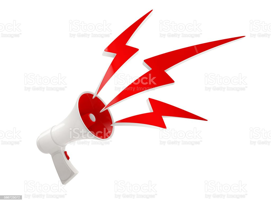 megaphone with red lightning on white background stock photo