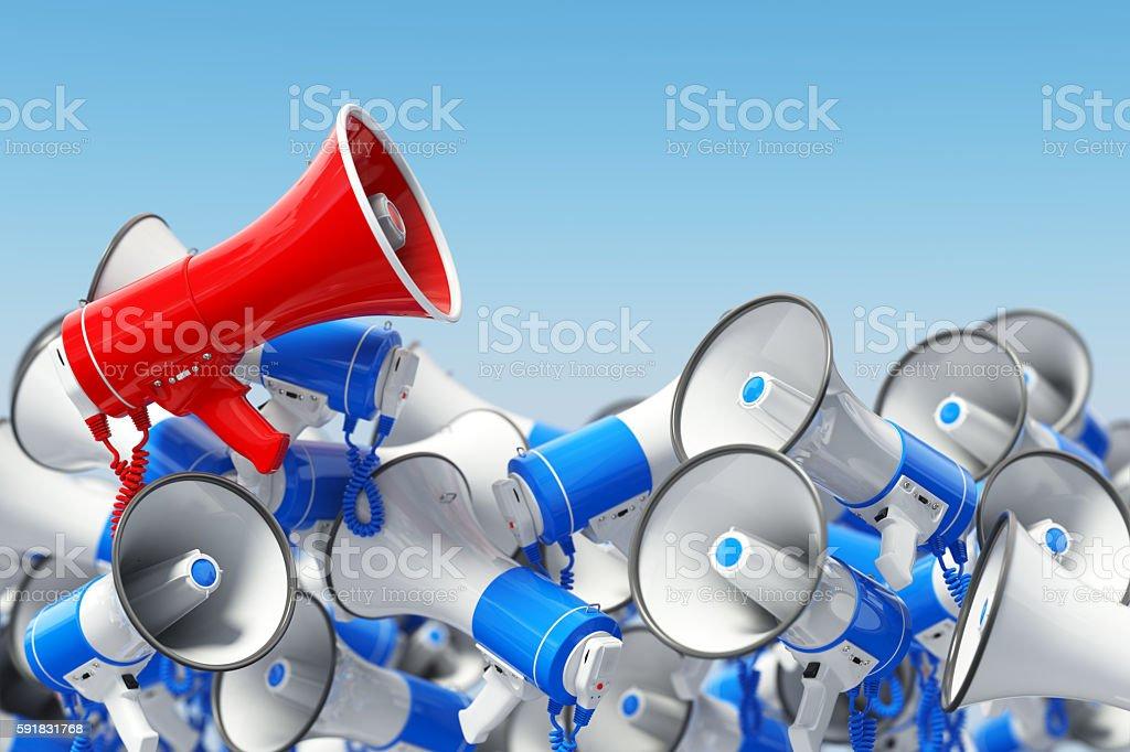 Megaphones. Promotion and advertising, digital marketing or soci stock photo